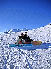 Boarder mit Grossglockner Skigebiet Heiligenblut