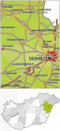 Landkarte Debrecen-Hortobágy 800