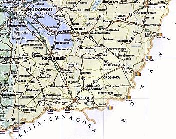 Landkarte Ungarn  südliche Tiefebene 1000
