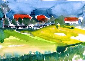 Peter Weiss_Bauernhäuser in der Ferne