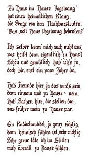 """... und schrieb folgendes Gedicht mit dem Titel """"Haus  Vogelsang"""""""