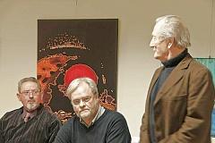 DAP- Ehrenpräsident Günther Falbe begrüßt die Referenten Egge de   Wall und Dr. Wolf Tekook